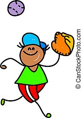 little boy playing baseball - toddler art series
