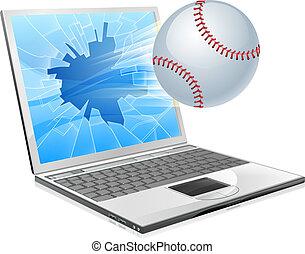 baseball labda, laptop