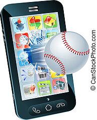 baseball labda, repülés, ki, közül, mobile telefon