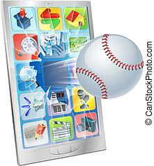 baseball labda, repülés, ki, közül, sejt telefon