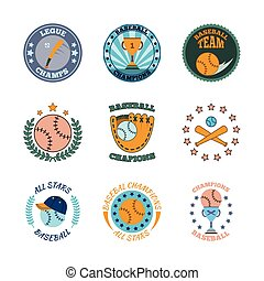 Baseball labels icons color set