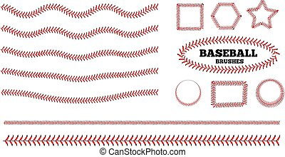 Baseball lacing on white background. Vector