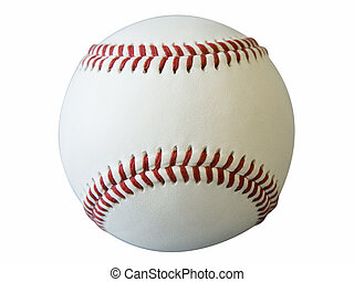 Baseball - large baseball on white background cut out