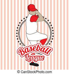 baseball league over lineal background vector illustration