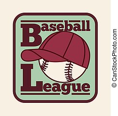 Baseball League vintage style label, badge, icon. Vector illustration.