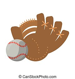 Baseball leather glove with ball cartoon