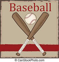 baseball, legno, pipistrello, vendemmia