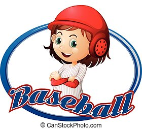 Baseball logo design with girl player