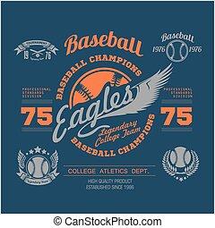 Baseball logo, emblem, badge and design elements. Vector illustration