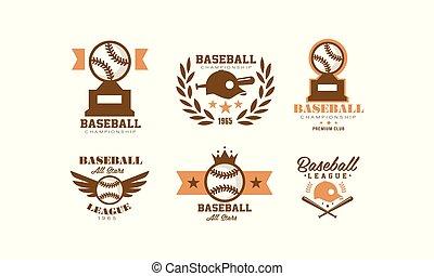 Baseball logo set, retro emblem for baseball championship, sports team identity badge vector Illustration on a white background