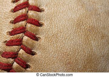 Baseball Macro Close up - Close up of a baseball threads ...