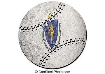 Baseball Massachusetts state flag. Massachusetts flag background Baseball