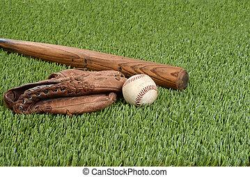 baseball, med, handske, och, slagträ