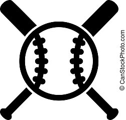 baseball, med, korsat, slagträ
