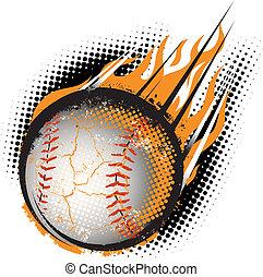 A fiery baseball hurling through the air