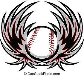 baseball, mit, flügeln
