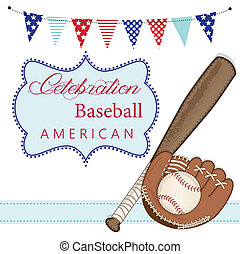 Baseball, mitt or glove, and bat with american patriotic banners and frame, layout for scrapbooking or cards, transparent background, vector format