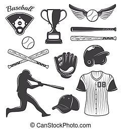 Baseball Monochrome Elements Set