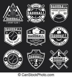 Baseball monochrome logos of teams and competitions with sports outfit on black background isolated vector illustration