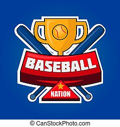 Baseball nation logotype with golden cup and crossed bats vector