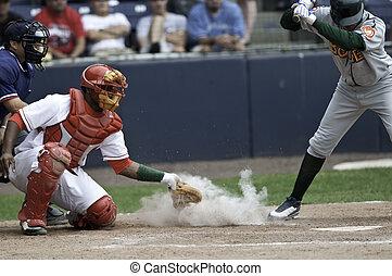 baseball, niedrig, und, innenseite