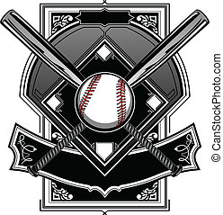 baseball, oder, softball, feld, mit, fledermaus