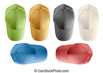 baseball, odizolowany, czapki