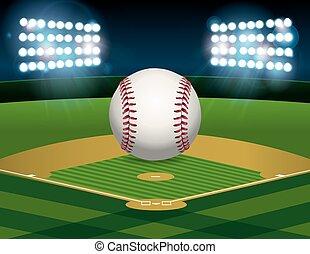 Baseball on Baseball Field Illustration - A baseball sitting...