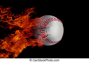 Baseball on fire - baseball at high speed catching fire and...