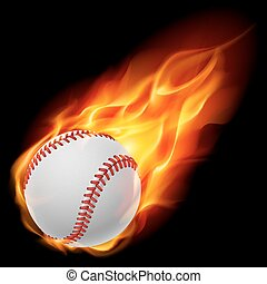 Baseball on fire. Illustration on black background
