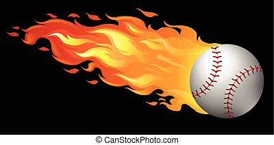 Baseball on fire with black background