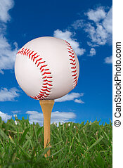 baseball on golf tee