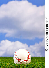 Photo of a baseball on grass with sky background.