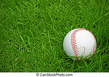 baseball on green grass pitch