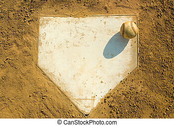 Baseball on Home - Old baseball on home plate surrounded by...