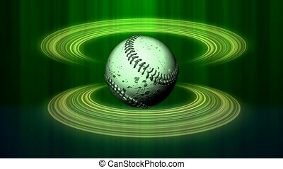 Baseball on neon green circles