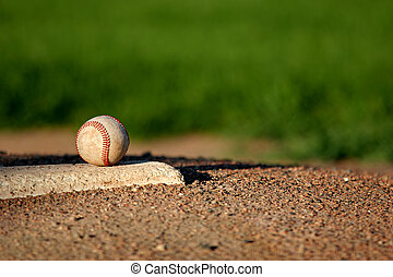 baseball on pitchers mound - baseball closeup on the...
