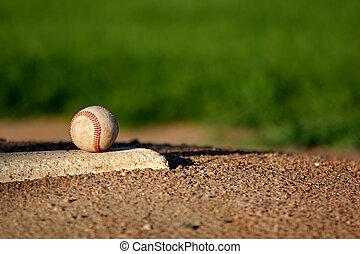 baseball on pitchers mound - baseball closeup on the...