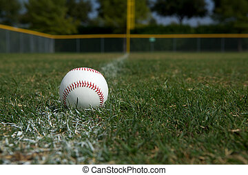 Baseball on the Chalk Line - Baseball on the Outfield Chalk...