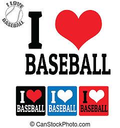 baseball, opatřit nápisem, láska, firma
