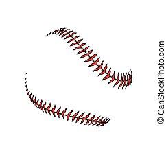 baseball or softball laces stiching seams vector