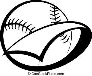 Baseball or Softball Pennant - Stylized baseball or softball...