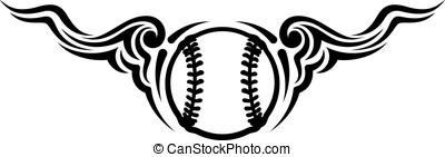 Baseball or Softball Wing Flourish Design - Black and white...