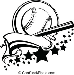 Baseball or Softball With Pennant - Black and white vector...