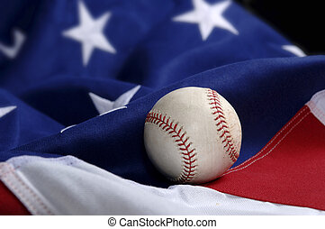 baseball, på, amerikaner flag