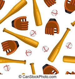baseball, płaski, próbka, gacki, piłki, seamless, rękawiczki, style.