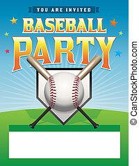 Baseball Party Flyer Illustration - A baseball party flyer...