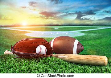 baseball, pipistrello, e, manopola, in, campo, a, tramonto