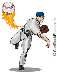 Baseball pitcher - Artwork on baseball