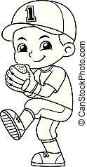 Baseball Pitcher Boy Ready To Throw BW